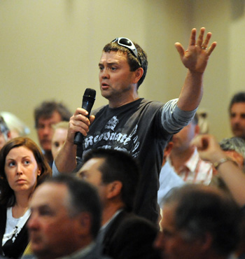 A concerned irrigation farmer speaks out during the first of several national public meetings, in Shepparton, October, 2010.