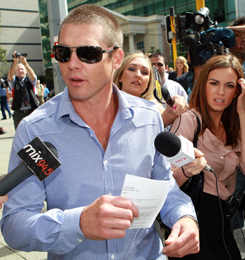 Cousins leaves Perth Magistrates Court on April 2, 2012, after he was arrested on drug charges at Esperance Airport.