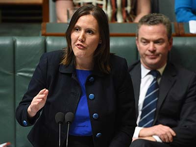 Federal Minister for Small Business Kelly O'ÄôDwyer during Question Time at Parliament House in Canberra on Monday, Oct. 12, 2015. (AAP Image/Mick Tsikas) NO ARCHIVING
