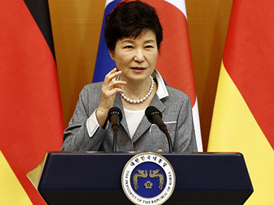 SEOUL, SOUTH KOREA - OCTOBER 12: South Korean President Park Geun-Hye speak during the joint press conference with German President Joachim Gauck (not in pictured) at the presidential houseon October 12, 2015 in Seoul, South Korea. German President Joachim Gauck arrived in Seoul on a four day official visit to promote cooperation between the two countries. (Photo by Jeon Heon-Kyun - Pool/Getty Images)