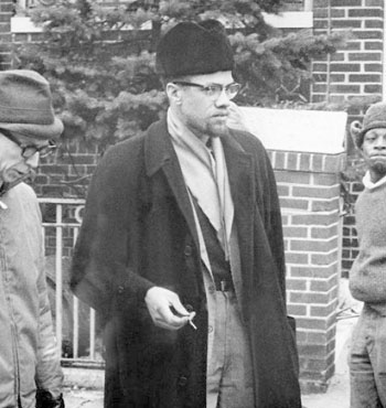 Malcolm X (c), the African-American civil rights leader was assassinated in 1965.