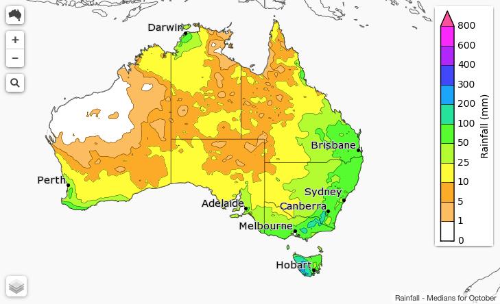 Rainfall medians for October.