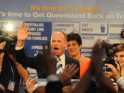 Liberal National Party (LNP) leader Campbell Newman during his victory speech following the Queensland state election in Brisbane, Saturday, March 24, 2012. The Liberal National Party (LNP), lead by Campbell Newman has won the ballot. (AAP Image/Dave Hunt) NO ARCHIVING