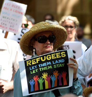 Demonstrators at the Stand Up For Refugees Rally in Sydney.