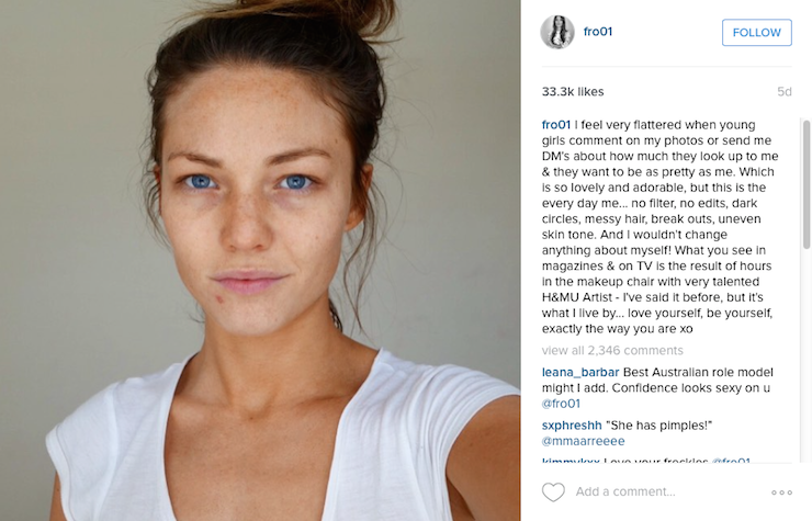 sam frost no makeup selfie