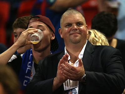 NEWCASTLE, AUSTRALIA - APRIL 17: Nathan Tinkler owner of the Jets with Jets supporters during the round 26 A-League match between the Newcastle Jets and the Sydney FC at Hunter Stadium on April 17, 2015 in Newcastle, Australia. (Photo by Tony Feder/Getty Images)