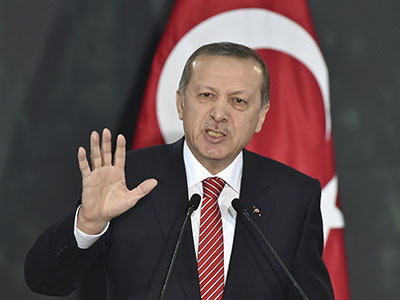 Turkish President Recep Tayyip Erdogan speaks at the National Palace in Mexico City on February 12, 2015. Erdogan is in Mexico on a two-day official visit. AFP PHOTO/ Yuri CORTEZ (Photo credit should read YURI CORTEZ/AFP/Getty Images)