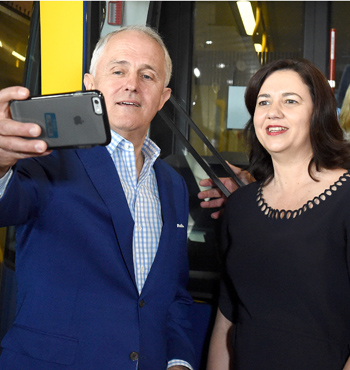 The PM also loves the odd selfie...pictured with Ms Palaszczuk in Southport.