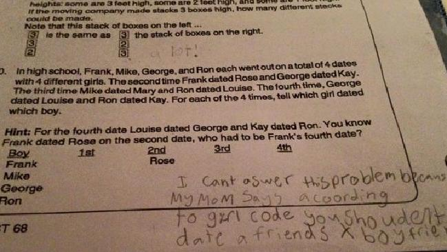 Child's amusing maths answer and the adultery bible