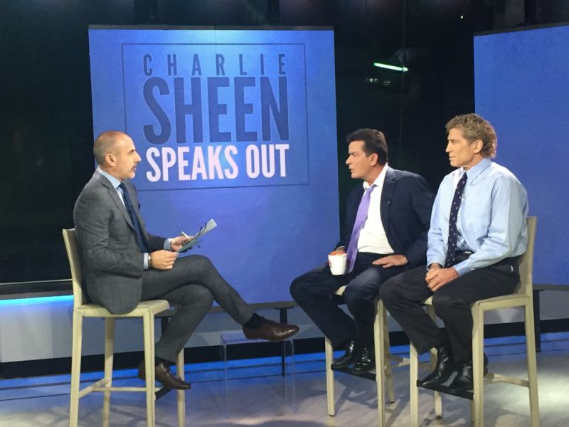 Matt Lauer (left) with Sheen (centre) and Dr Robert