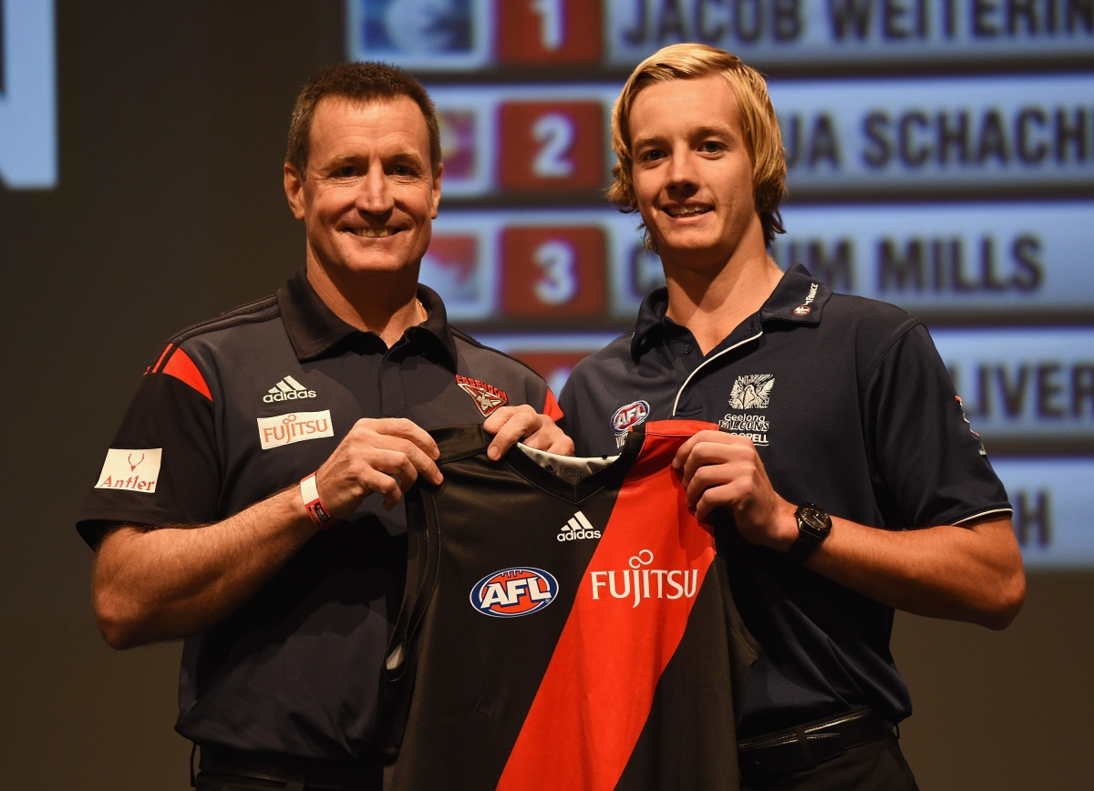 Darcy Parish meets the new Essendon boss. Photo: Getty