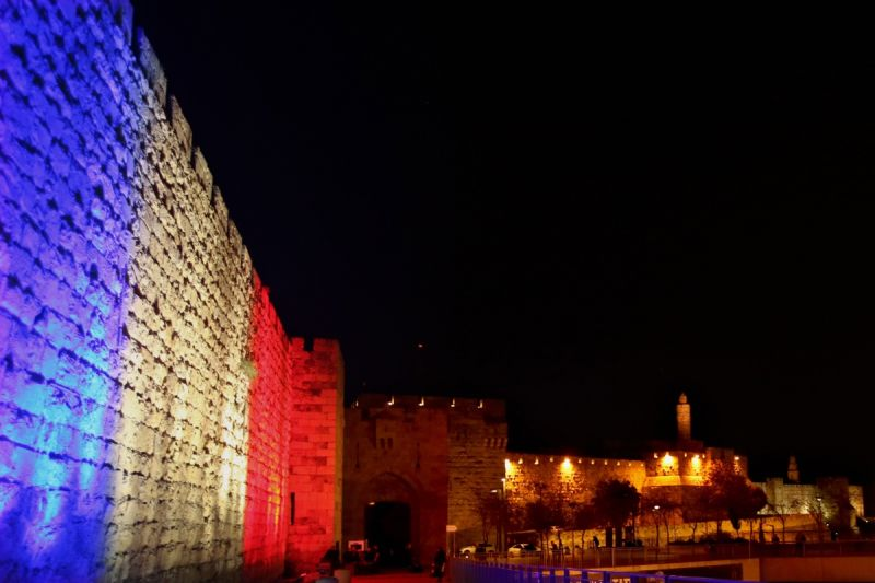 Jerusalem's Old City Ottoman Walls were also lit up. Photo: Getty