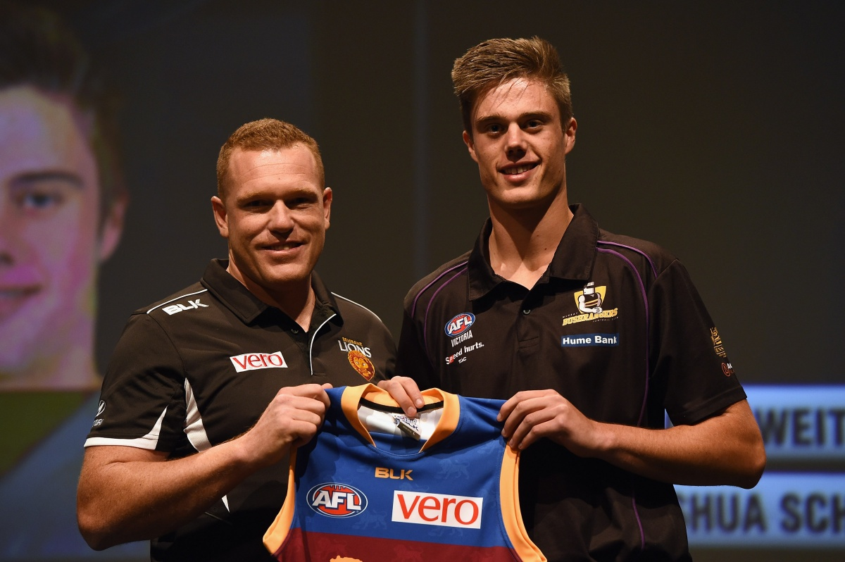 Josh Schache meets new coach Justin Leppitsch. Photo: Getty