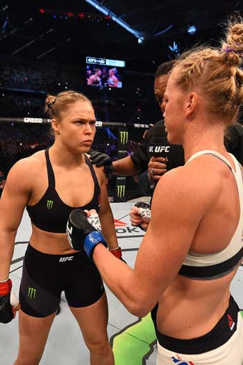 Rousey refused to touch gloves with Holm prior to the start of the fight. Photo: Getty