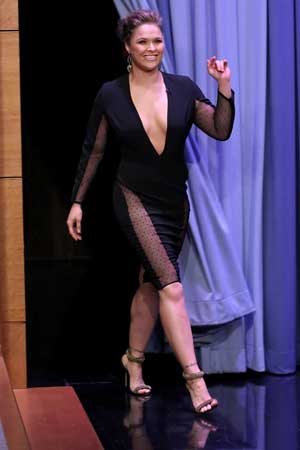 Rousey in glamour mode for an appearance on The Tonight Show Starring Jimmy Fallon. Photo: Getty