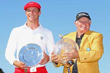 Maybe next time young man: Senior with American amateur Bryson DeChambeau. who finished equal second. Photo: Getty