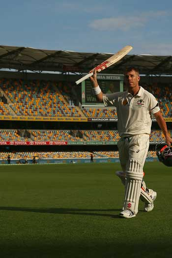 And his century at the Gabba was also met by a largely empty stadium. Photo: Getty