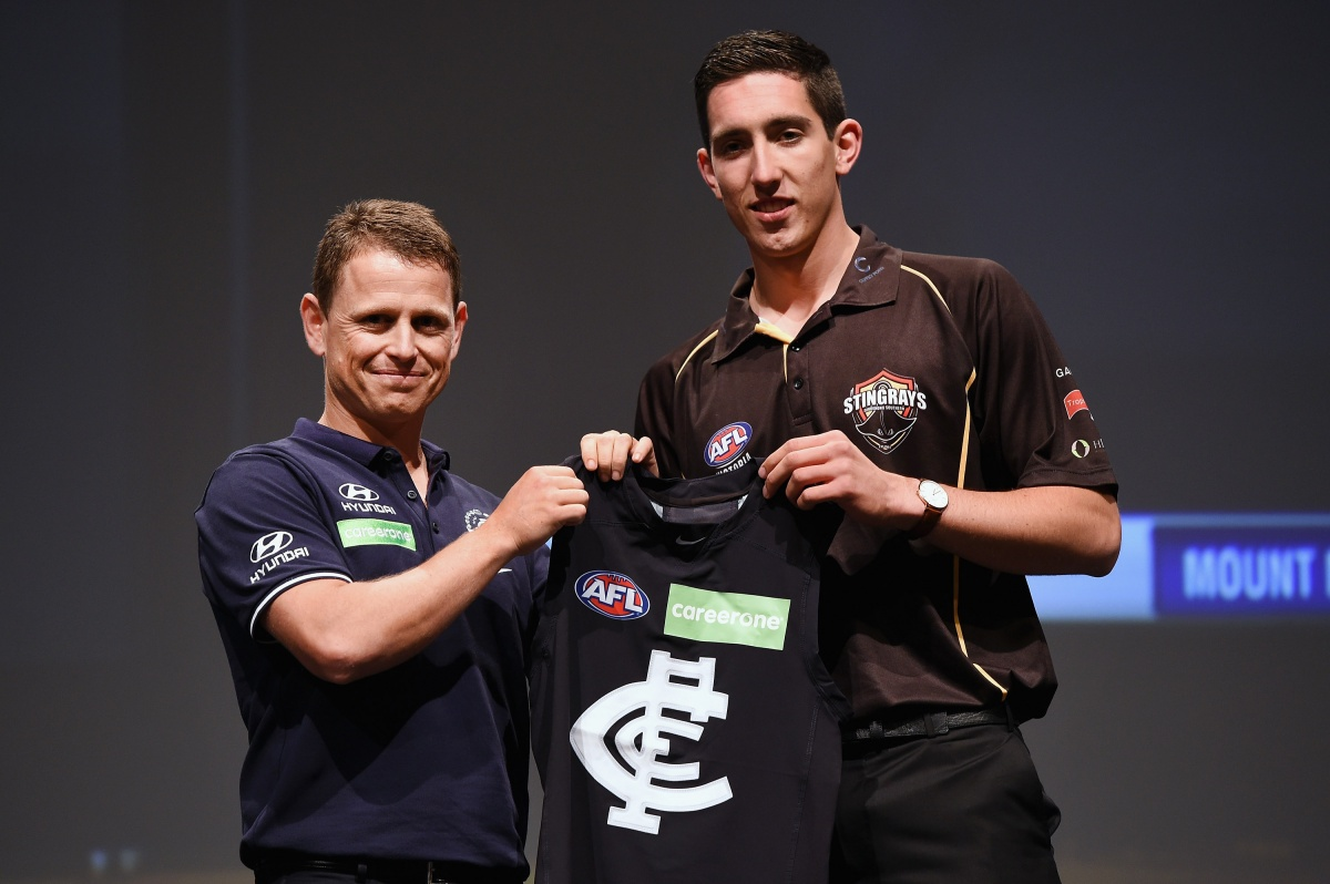 Numero uno: Top dog in the 2015 AFL Draft Jacob Weitering. Photo: Getty