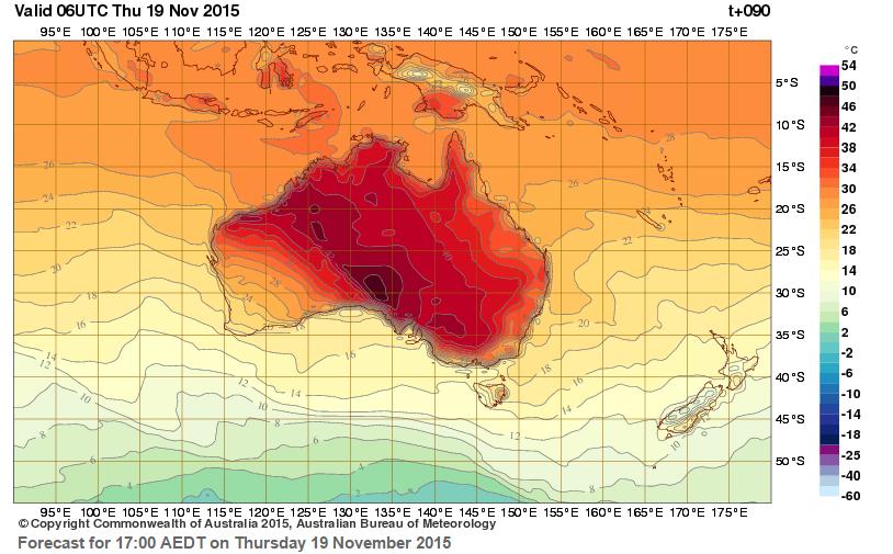 australia heatwave map