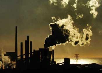 smoke at steel works