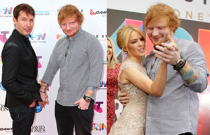 Ed Sheeran clowns around with James Blunt (left) and Kylie Minogue (right). Photo: Getty