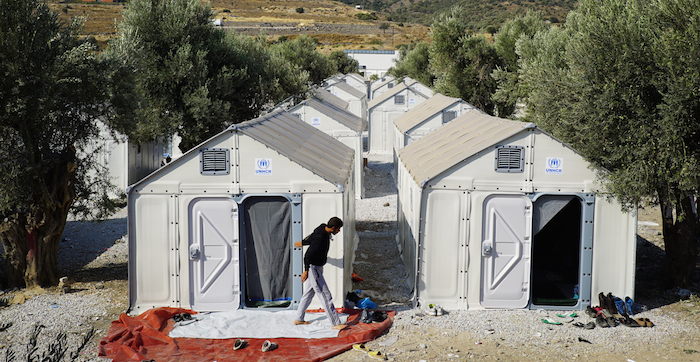 An aerial view of the shelters at Karatepe transit camp, Mytilini, Lesvos, Greece. Photo: Better Shelter