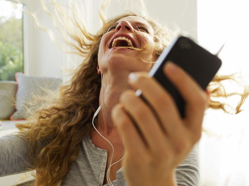 happy woman phone