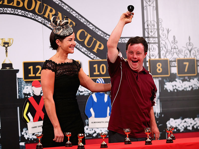 MELBOURNE, AUSTRALIA - OCTOBER 31: Stevie Payne (R) reacts as Michelle Payne (L) looks on during the 2015 Melbourne Cup Barrier Draw at Flemington Racecourse on October 31, 2015 in Melbourne, Australia. (Photo by Robert Prezioso/Getty Images for the VRC)