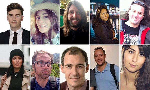 Some of the reported victims from the tragic attacks.