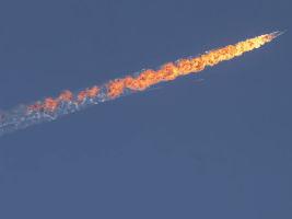 russia warplane on fire
