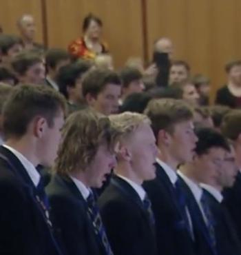 Christchurch Boys' High School students perform the school song,