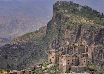 mountain village, yemen