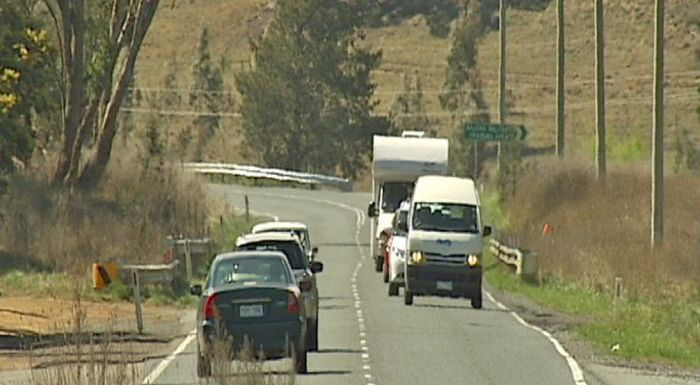 heavy traffic on rural road