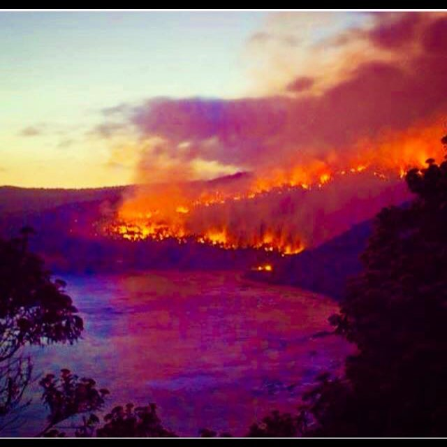 Bushfire flames Wye River