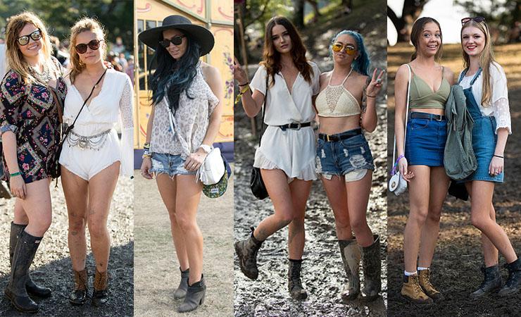 The Australian national uniform for women: denim shorts, black boots, felt hats and playsuits. Photo: Getty