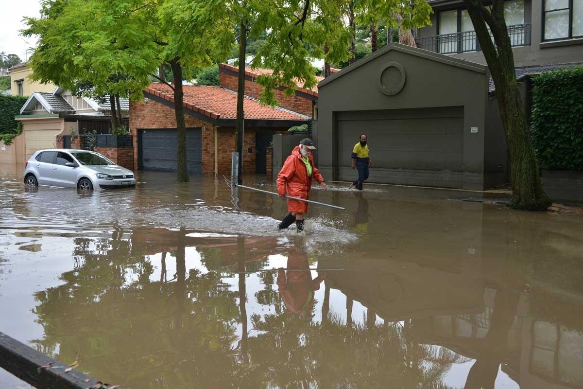 A flooded street in Sydney's eastern suburbs. Photo: Getty