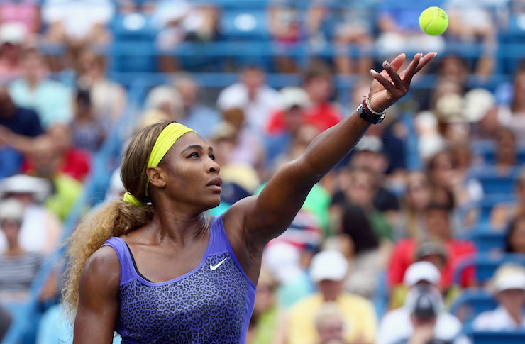 Serena Williams has a pre-serve ritual that seems to be paying off. Photo: Getty