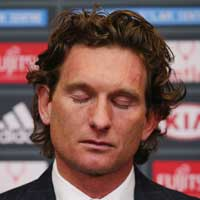 The strain eventually became too much for James Hird. Photo: Getty