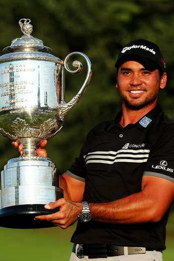 Jason Day with his PGA Championship trophy. Photo: Getty
