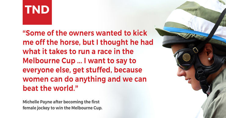 Michelle Payne and Prince Of Penzance after a historic Melbourne Cup.