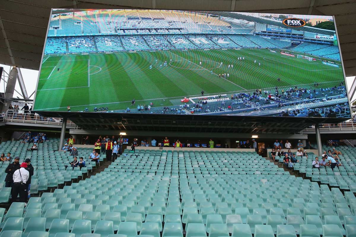 The bay reserved for Sydney FC's The Cove supporters at Allianz Stadium.