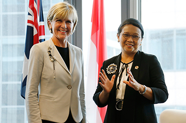 Julie Bishop and Retno Marsudi meet at the third 2+2 meeting. Photo: AAP