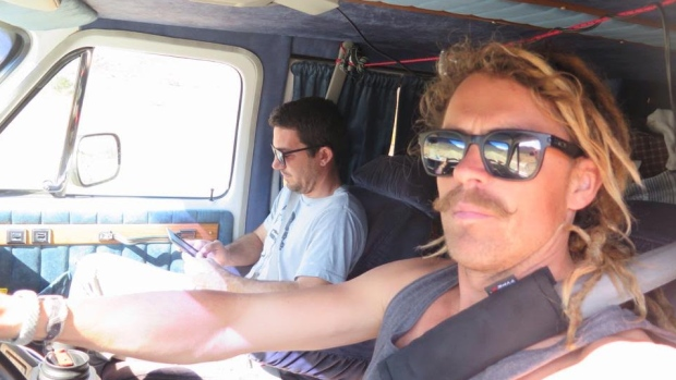 Lucas (left) and Coleman in the van they planned to drive to Guadalajara in.
