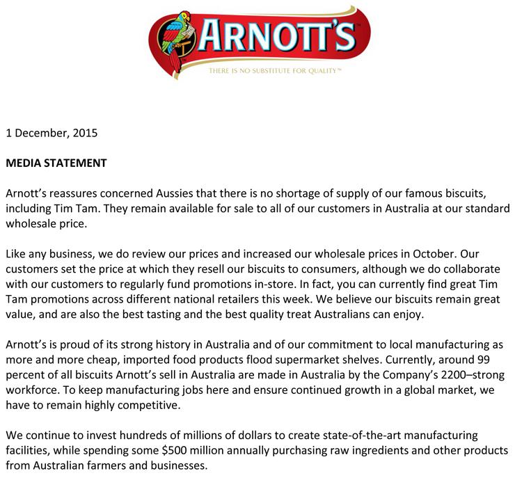 arnott's statement