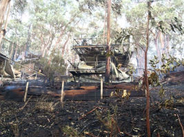 A destroyed building on Durimbil Ave, Wye River. Image: Tom Jacobs
