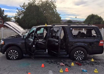 This is the bullet-ridden car driven by the couple to their deaths. Photo: San Bernardino Sheriff's Dept