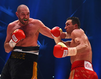 Tyson Fury in action with Wladimir Klitschko during the world championship title in November. Photo: Getty
