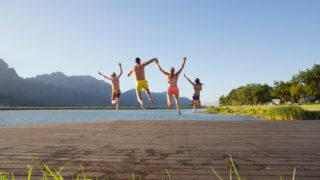 family jump in lake