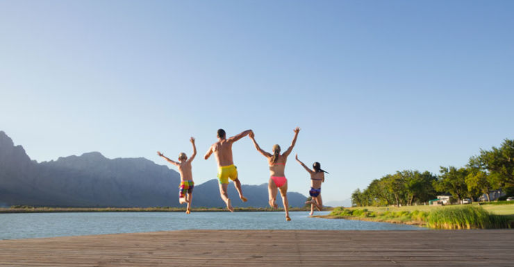 family jump in lake