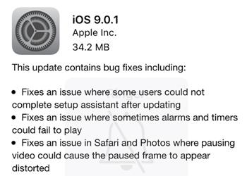 apple ios 9 bug fixes